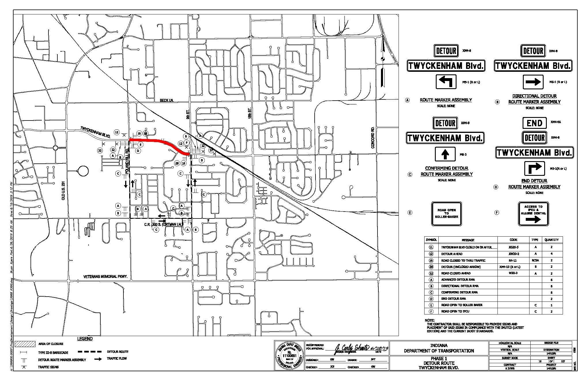 Twyckenham Blvd Detour Map