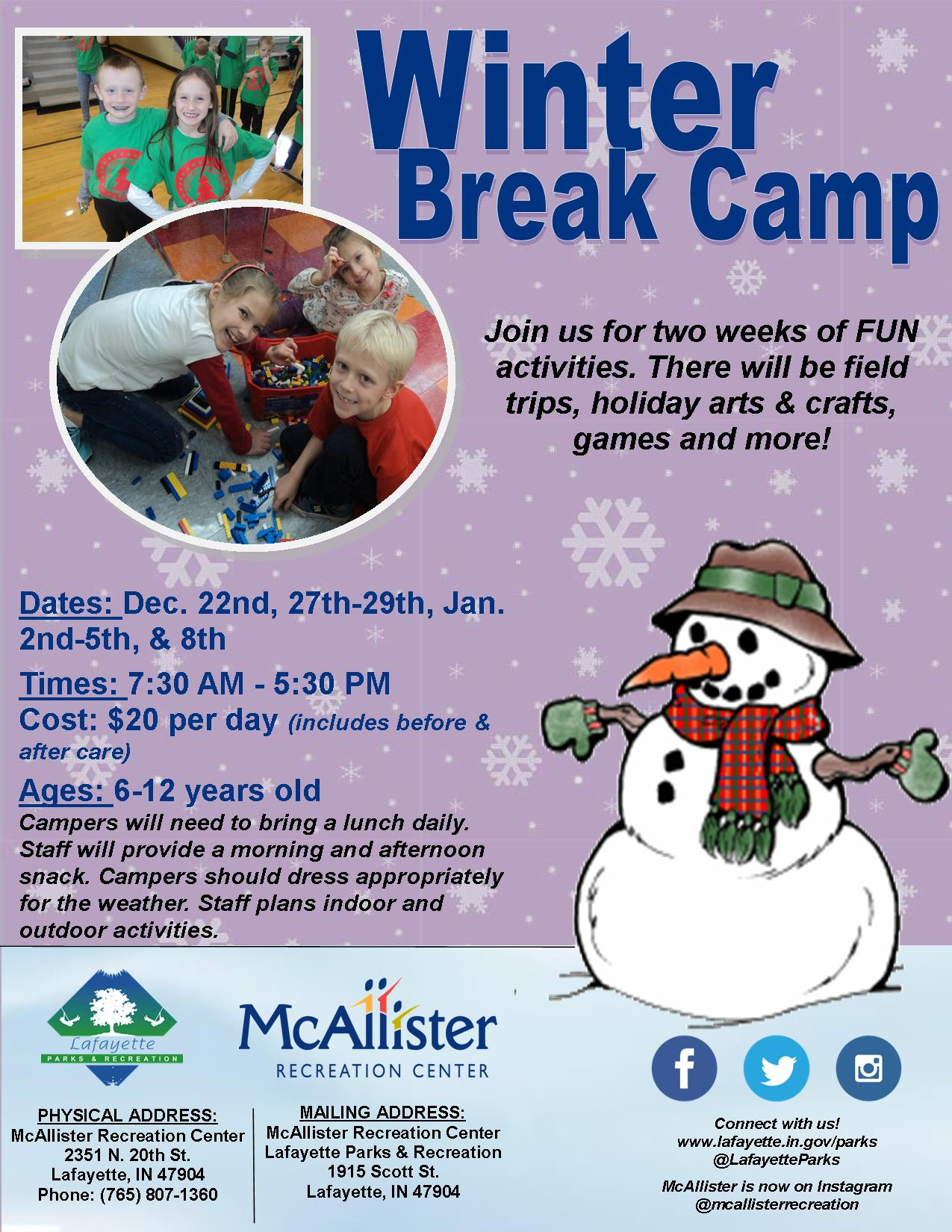 Holiday Break Camp 2017