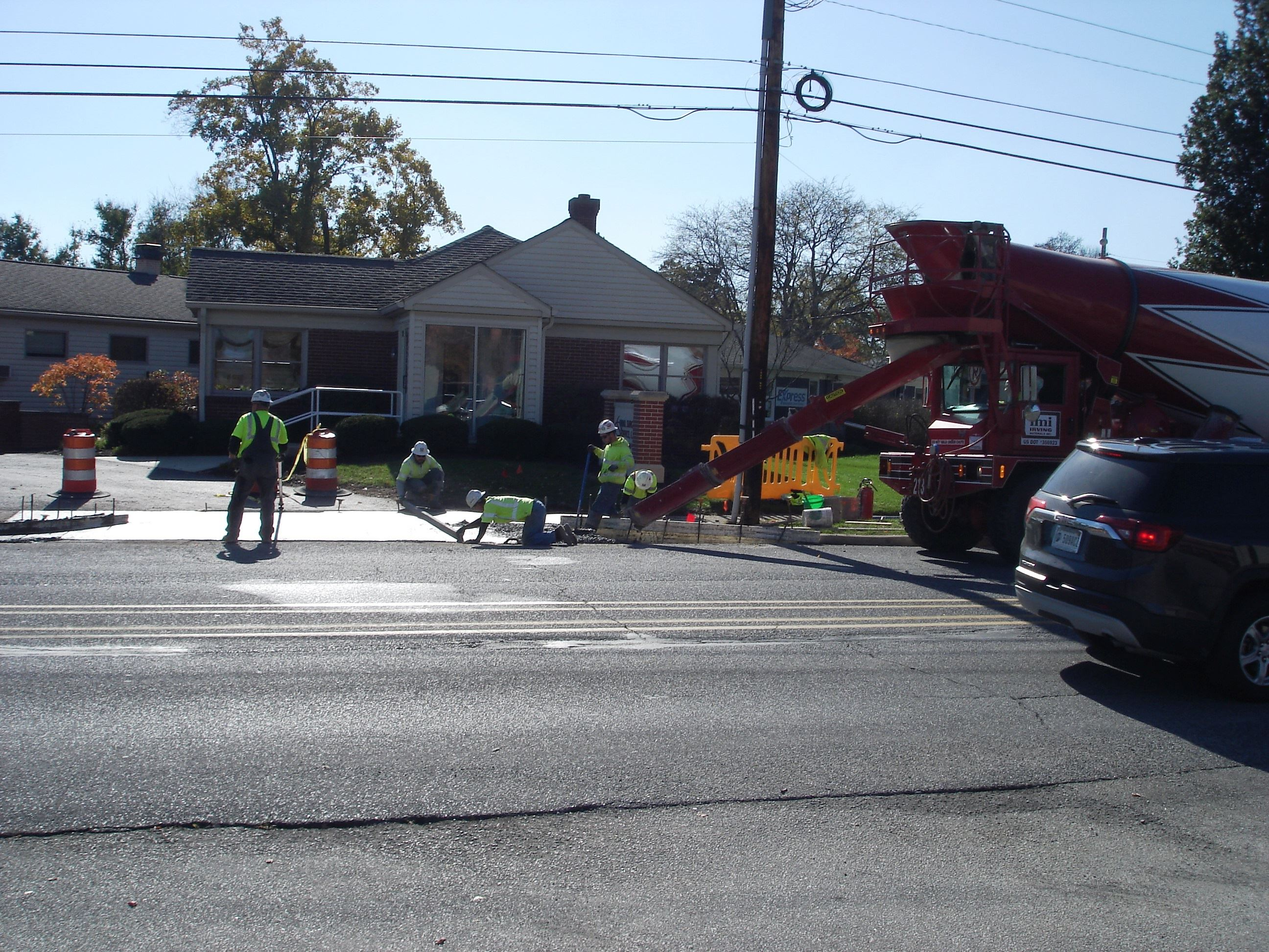 Construction work on a corner of a South Street intersection