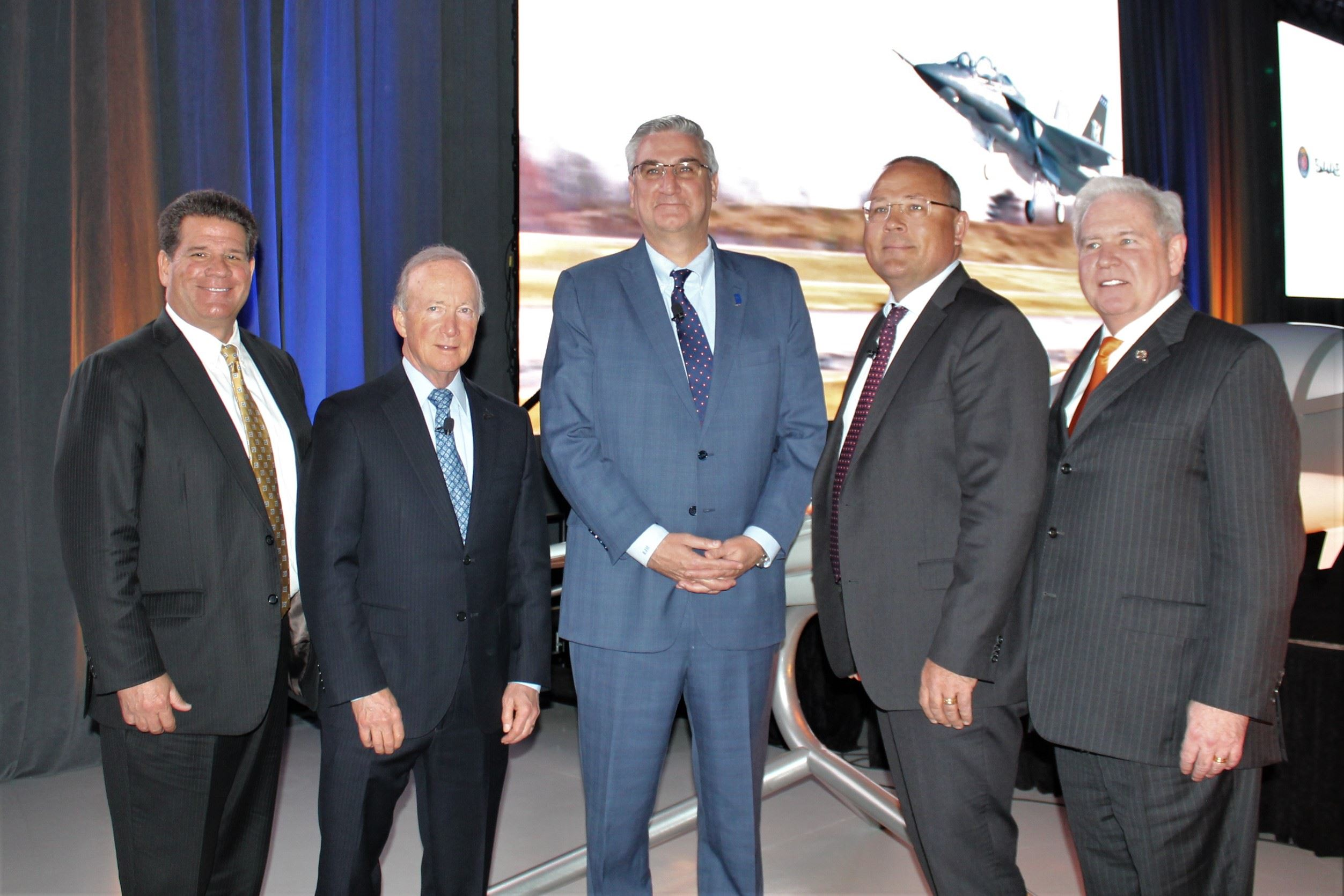 Mayor Roswarski, Purdue President Mitch Daniels, and Governor Eric Holcomb with Saab executives