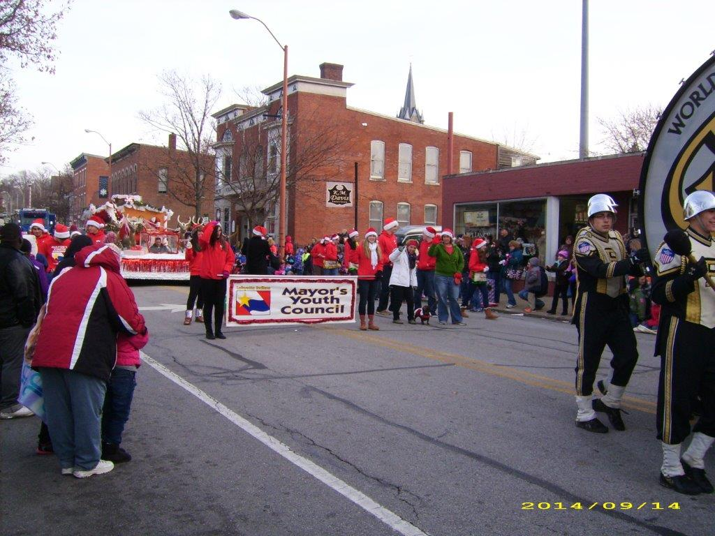 Students walking in the Christmas Parade