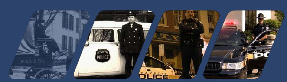 Collage of the Police Department staff and vehicles throughout the years