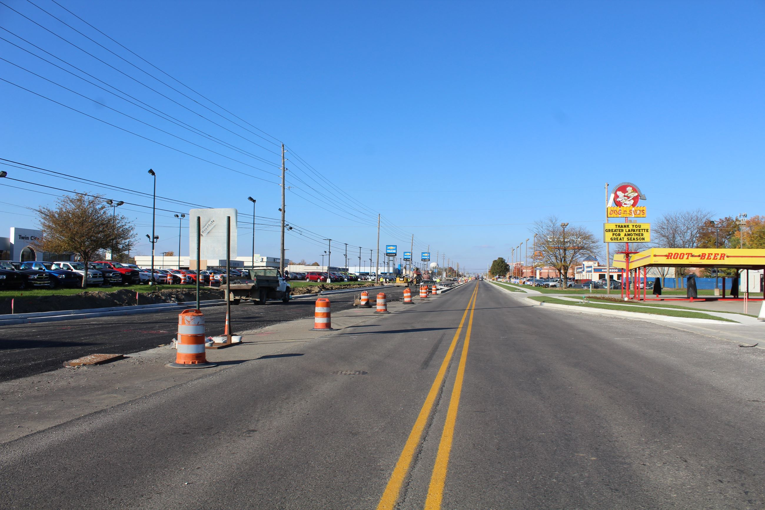 Completed lanes on Sagamore Parkway