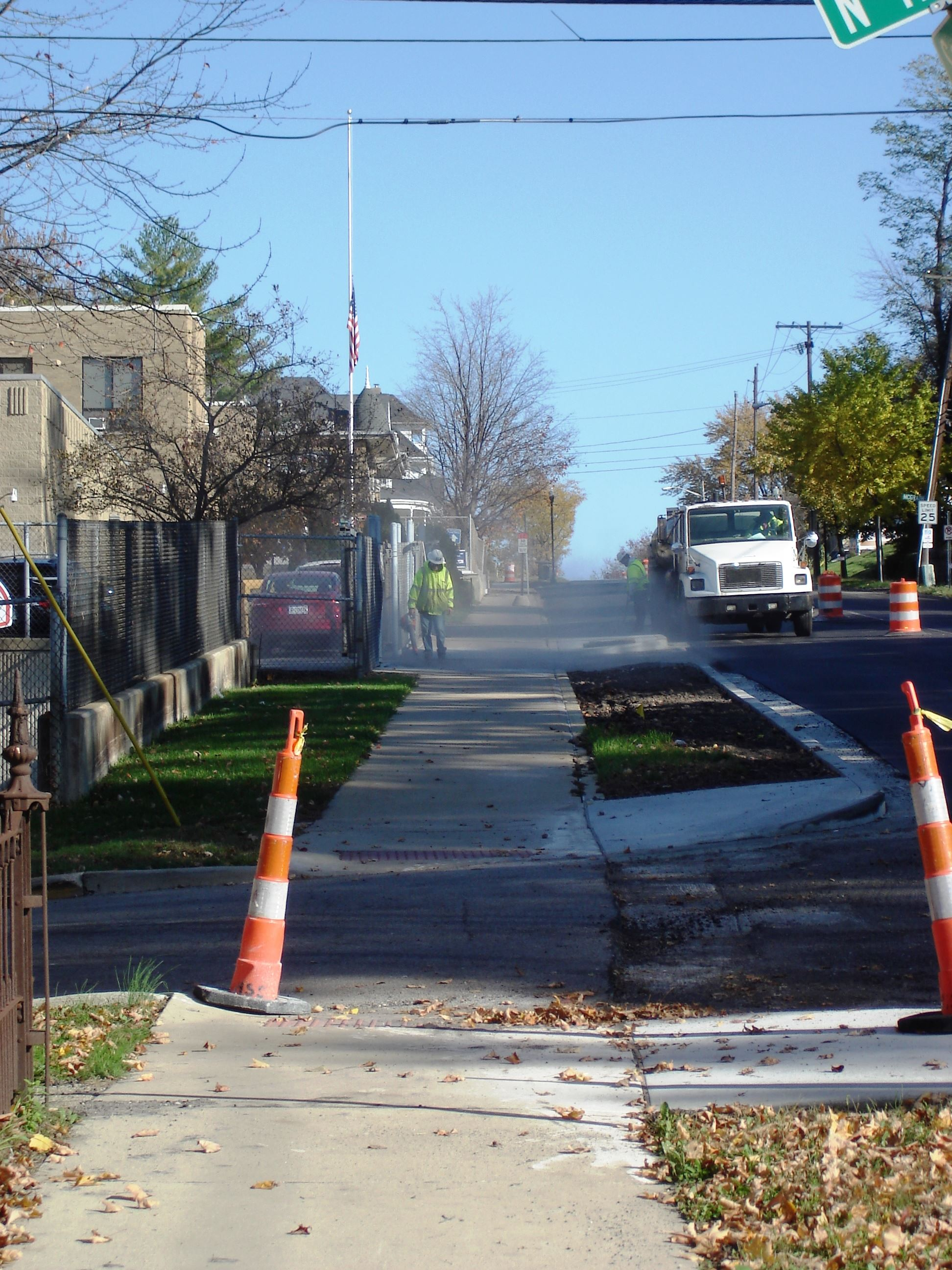 A view looking east on South Street showing curb work in the distance
